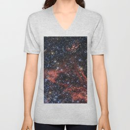 Death of a Star - Red Wispy Remains of Giant Supernova Unisex V-Neck