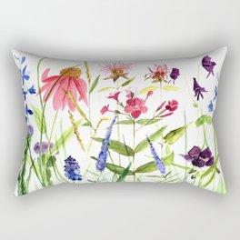 Botanical Colorful Flower Wildflower Watercolor Illustration Rectangular Pillow