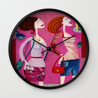 shopping Wall Clocks featuring shopping by Giorgia Grippo Belfi