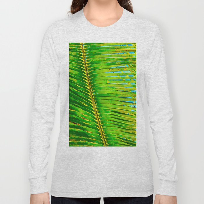 Coconut Frond in Green Aloha Long Sleeve T-shirt