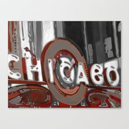 Red and White Chicago Theater Canvas Print