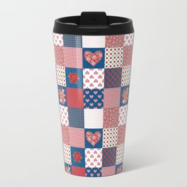 Hearts and Roses Faux Patchwork Travel Mug