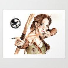 Mockingjay. Katniss Everdeen. Art Print