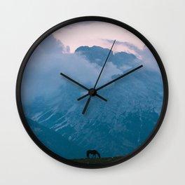 Mountain Sunset Horse - Landscape Wildlife Photography Wall Clock