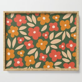 groovy flowers_red and orange on dark green Serving Tray