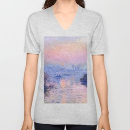 "Claude Monet ""Sunset on the Seine at Lavacourt. Winter Effect"" Unisex V-Neck"