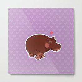 Hippo Love Metal Print