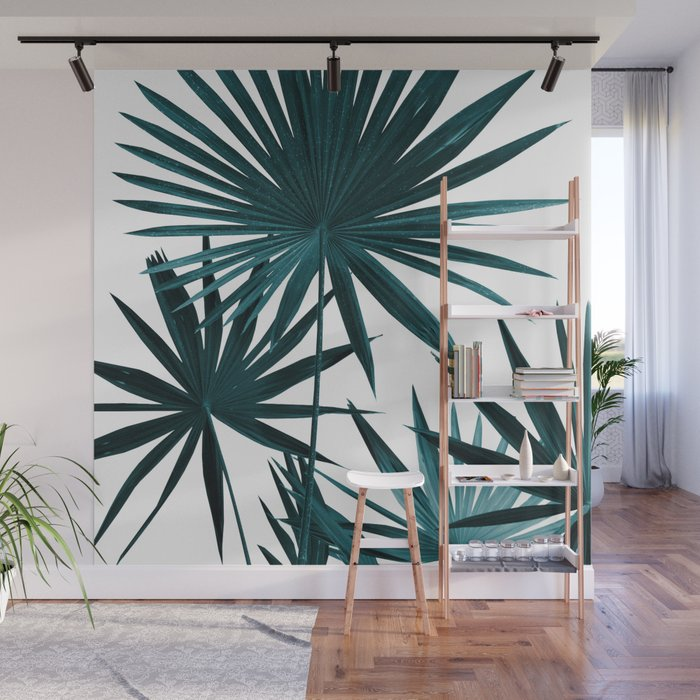 Fan Palm Leaves Jungle 1 Tropical Decor Art Society6 Wall Mural By Anitabellajantz Society6