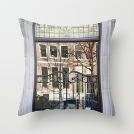 Windows on the Window - Canal Reflections Throw Pillow