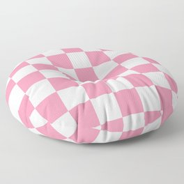 Checkered - White and Flamingo Pink Floor Pillow