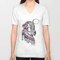 selena V-neck T-shirts featuring Selena by meowkitty17