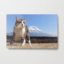Rival of this cat is Mount Fuji. Metal Print