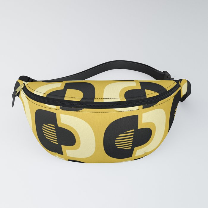 Retro Mid Century Modern Pattern 115 Black and Yellow Fanny Pack