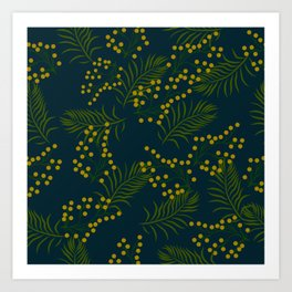 Topical Flowers and leaves Pattern Art Print