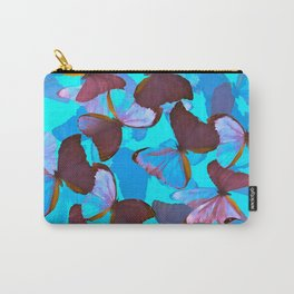 Shiny Blue And Pink Butterflies On A Turquoise Background #decor #society6 #pivivikstrm Carry-All Pouch