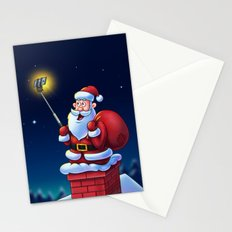 Cartoon Santa Claus with Selfie Stick - Digital Painting Stationery Cards