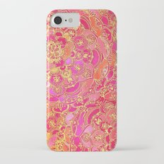 Hot Pink and Gold Baroque Floral Pattern Slim Case iPhone 7