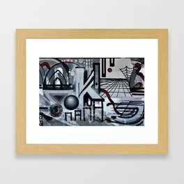 Graffiti On Gray Background Framed Art Print