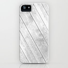 Rustic country white gray abstract wood  iPhone Case