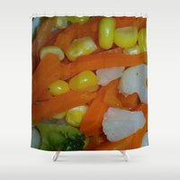 vegetables Shower Curtains featuring Summer Vegetables by MehrFarbeimLeben