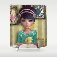 chicken Shower Curtains featuring Chicken by solocosmo