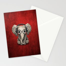 Cute Baby Elephant Dj Wearing Headphones and Glasses on Red Stationery Cards