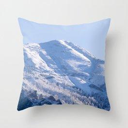 Snowy Utah Mountain Peak Throw Pillow