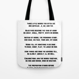 Parts of Speech Rhyme Tote Bag