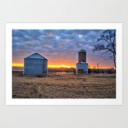 Grain Bin Sunset Art Print