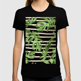 Simply Tropical White Gold Sands Stripes and Palm Leaves T-shirt