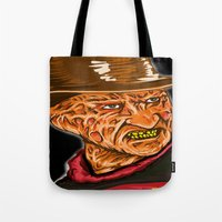 freddy krueger Tote Bags featuring Freddy Krueger by Art of Fernie