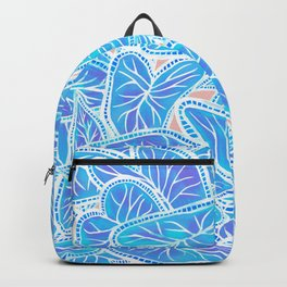 Tropical Caladium Leaves Pattern - Blue Backpack