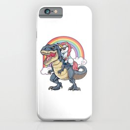 Unicorn Riding Dinosaur T Shirt T-Rex Funny Unicorns Party Rainbow Squad Gifts for Kids Boys Girls iPhone Case