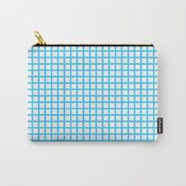 Blue On White Grid Carry-All Pouch