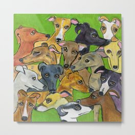 Greyhounds on green Metal Print