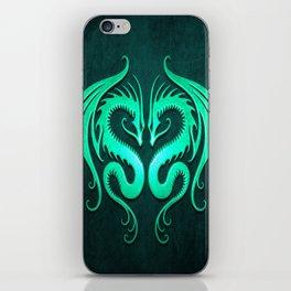 Teal Blue Twin Tribal Dragons iPhone Skin