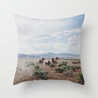 horses Throw Pillows featuring Running Horses by Kevin Russ