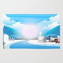 Winter rural landscape illustration. Rug