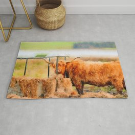 Highland cow watercolor painting #8 Rug