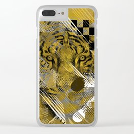 Tiger in gold Abstract Digital art Clear iPhone Case