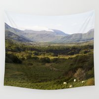 ireland Wall Tapestries featuring Ireland Mountains by ericasterling