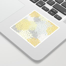 Floral Prints, Soft, Yellow and Gray, Modern Print Art Sticker