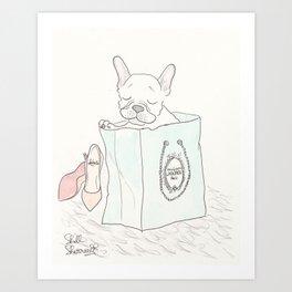 Paris Shopping French Bulldog Style Art Print