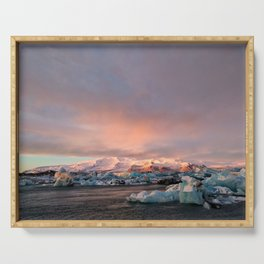 Sunrise at Jokulsarlon Glacier Lagoon Serving Tray