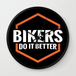 BIKERS DO IT BETTER ORANGE SQUARE Wall Clock