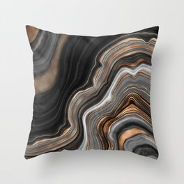 Elegant black marble with gold and copper veins Throw Pillow