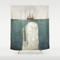 whale Shower Curtains featuring The Whale - vintage option by Terry Fan