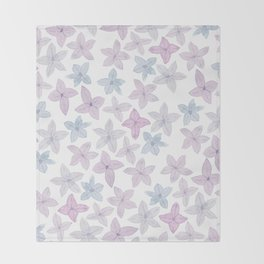 Watercolor hand painted lavender lilac blue floral Throw Blanket