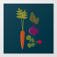 vegetable Canvas Prints featuring Vegetable Medley by Veronica Galbraith
