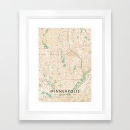 Minneapolis, United States - Vintage Map Framed Art Print